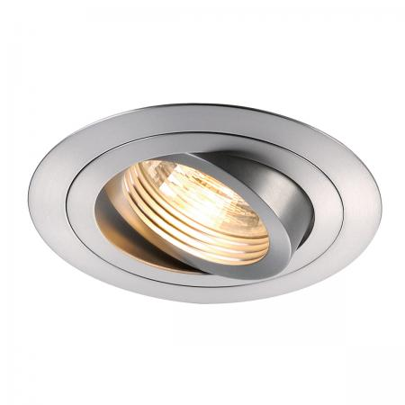 SLV 111360 NEW TRIA GU10 ROUND Downlight, alu brushed, max. 50W, inkl. Clipfedern