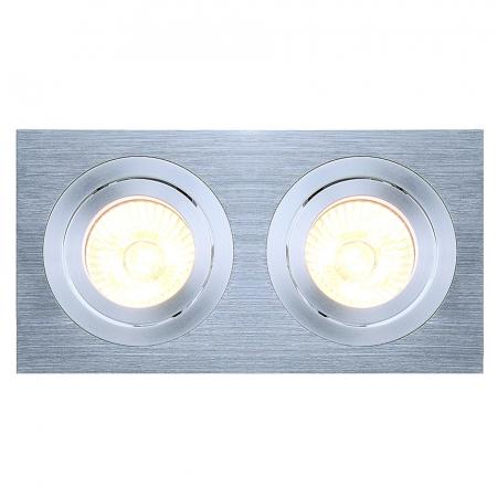 SLV 111362 NEW TRIA II GU10 Downlight, rechteckig, alu brushed, max. 2x50W, inkl. Clipfedern