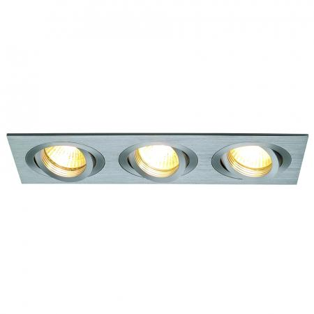 SLV 111363 NEW TRIA III GU10 Downlight, rechteckig, alu brushed, max. 3x50W, inkl. Clipfedern