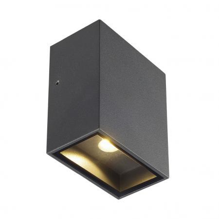 slv 232435 quad xl 1 wandleuchte led ip44 3w 3000k eckig anthrazit a. Black Bedroom Furniture Sets. Home Design Ideas