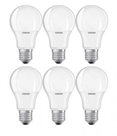 6 x 1055 Lumen Osram LED BASE A75 E27 10.5W Warmweiß