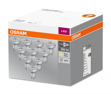 10er-PACK OSRAM LED BASE PAR16 GU10 LED Strahler 4.3W=50W 36° 2700K GLAS Germany