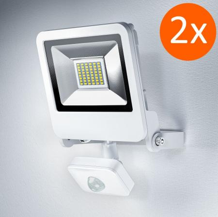 2 x Osram ENDURA FLOOD SENSOR LED 30W WT 3000K Fluter Floodlight IP44 weiß