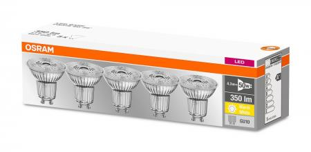 5er-PACK OSRAM LED BASE PAR16 GU10 LED Strahler 3.6W=50W 36° 2700K GLAS Germany