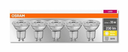 10er-PACK OSRAM LED Base PAR16 GU10 LED Strahler 2.6W=35W 36° 2700K Glas