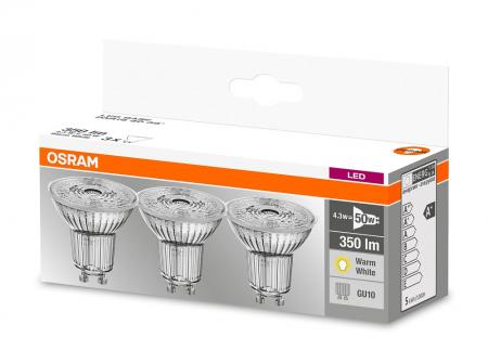 OSRAM LED BASE PAR16 GU10 LED Strahler 4.3W=50W 36° 2700K GLAS 3er-PACK