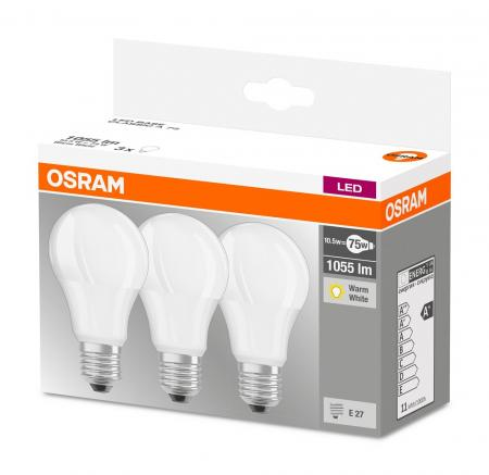 1055 Lumen Osram LED BASE A75 E27 10.5W Warmweiß 3er-Pack wie 75W