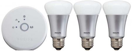 Philips Hue Starter-Set: 1 x Bridge + 3 x Led Lampen E27 (9W)