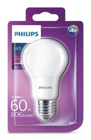 806 lumen philips led a60 e27 lampe 7 5w 4000k wie 60w. Black Bedroom Furniture Sets. Home Design Ideas
