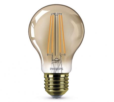 610 Lumen Philips LEDClassic GOLD E27 GLOBE LED Lampe 7.5W DIMM 2000K Wie  48W