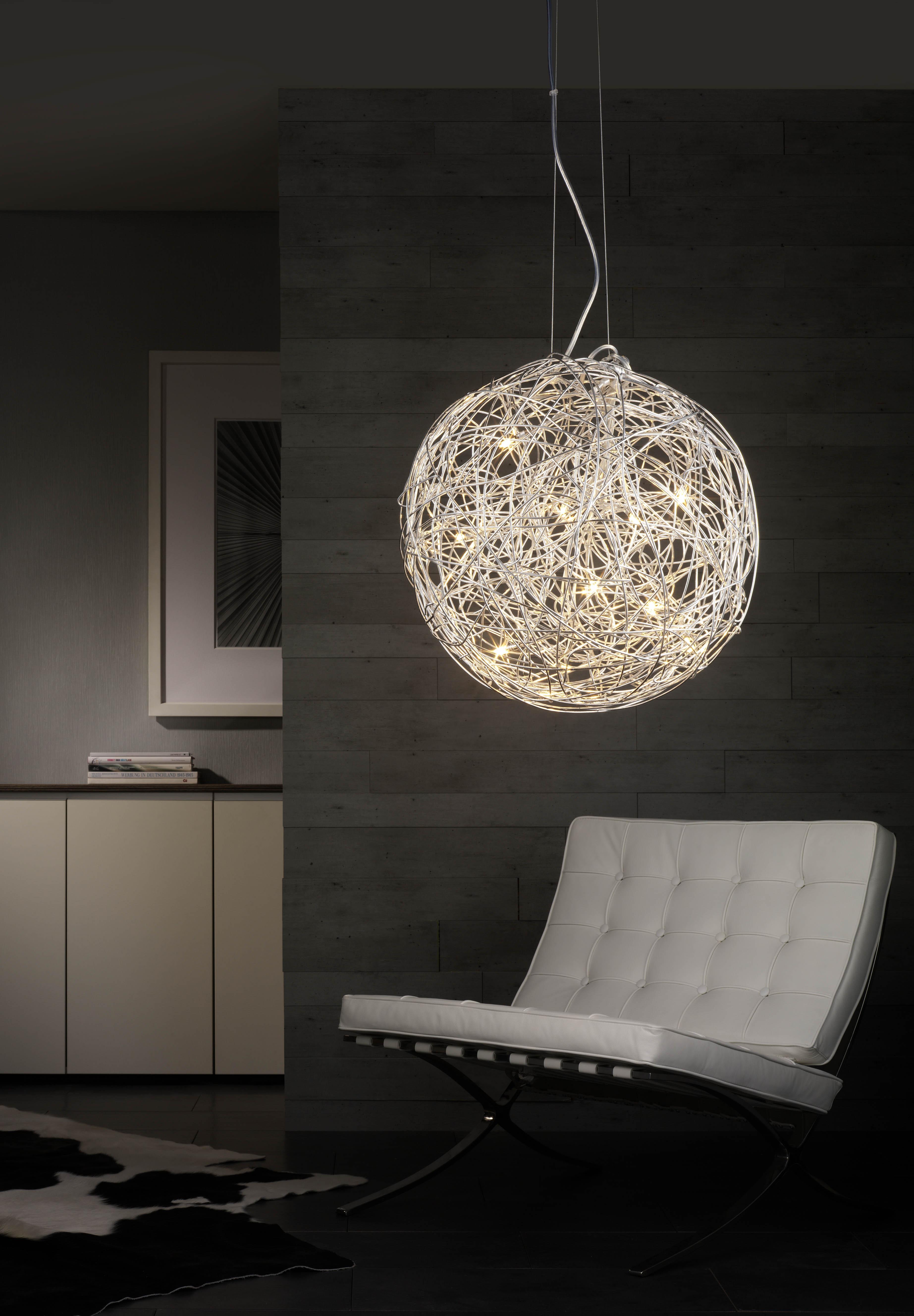 mylight 399607 draht halogen pendelleuchte chrom gl nzend eek c. Black Bedroom Furniture Sets. Home Design Ideas