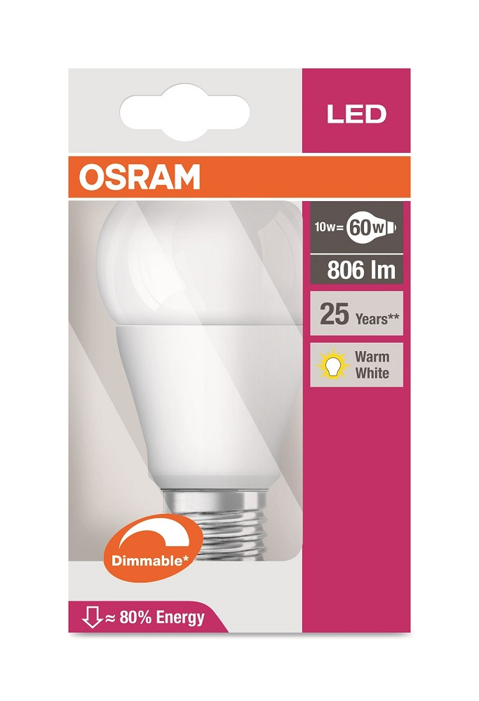 806 Lumen Osram Superstar A60 Adv 2700K dimmbar LED Lampe 10W A+