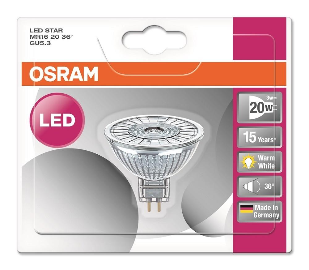 Osram LED STAR MR16 20 36° GU5.3 Strahler Glas warmweiß 2700K wie 20W