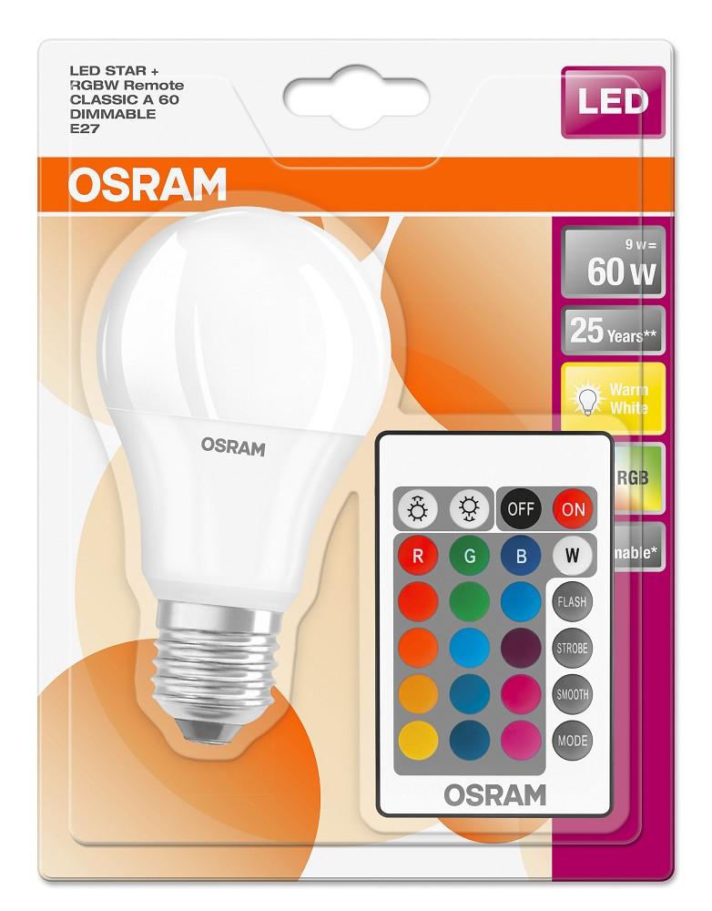 osram led star rgbw remote a60 e27 led lampe mit fb. Black Bedroom Furniture Sets. Home Design Ideas