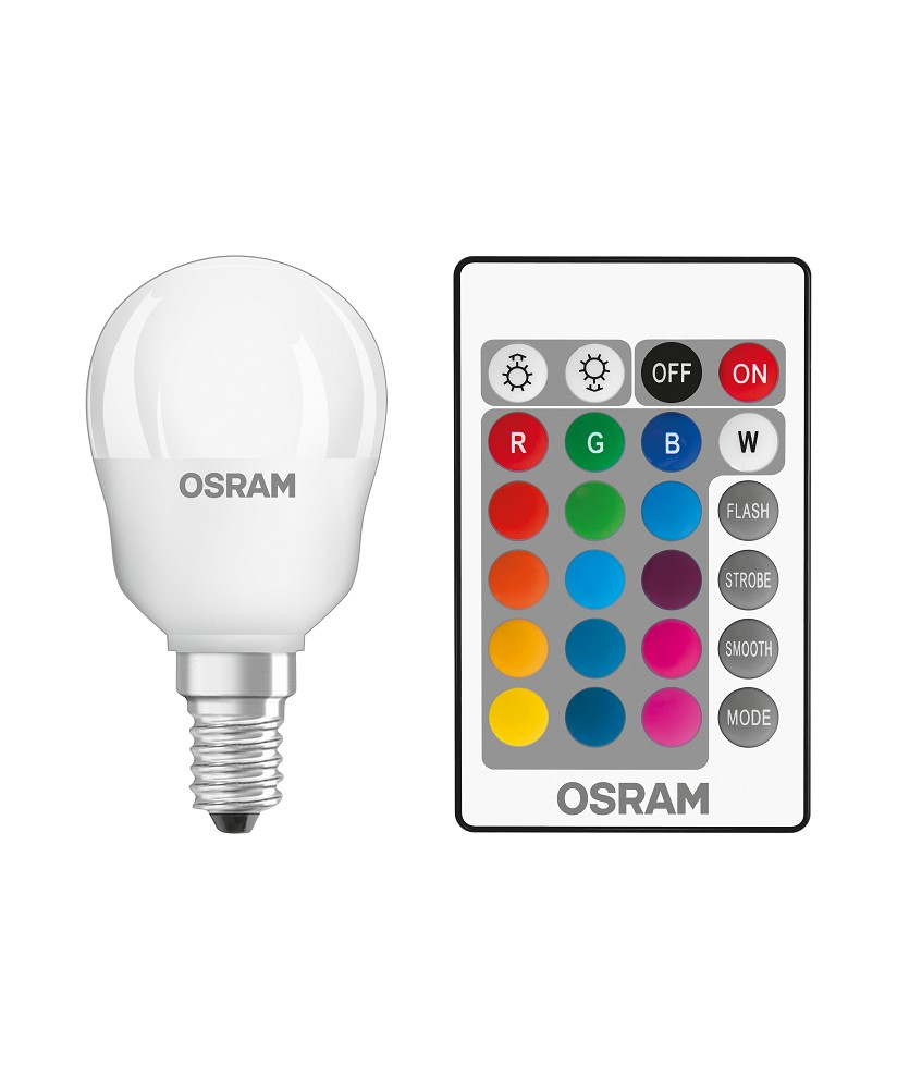 osram led star rgbw remote p25 e14 tropfenlampe mit fb. Black Bedroom Furniture Sets. Home Design Ideas