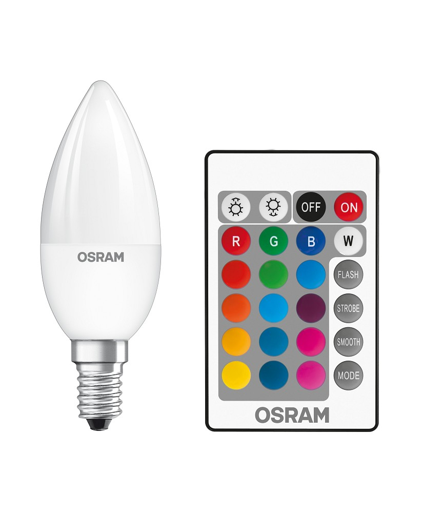 osram led star rgbw remote b25 e14 kerzenlampe mit fb. Black Bedroom Furniture Sets. Home Design Ideas
