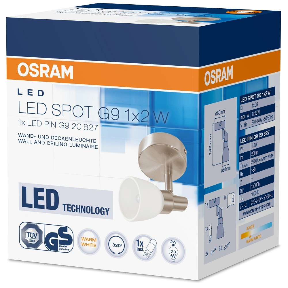 osram led spot 1x2w decken und wandleuchte g9 2w 20w 827. Black Bedroom Furniture Sets. Home Design Ideas