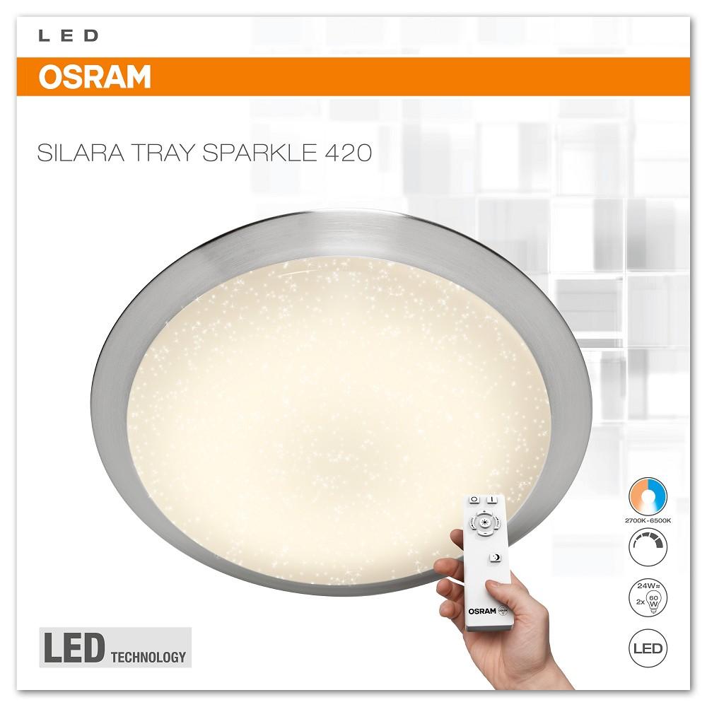 osram silara tray sparkle led deckenleuchte 24w 420mm 2700k 6500k remote. Black Bedroom Furniture Sets. Home Design Ideas