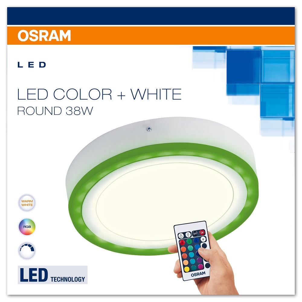osram led color white round 38w rgb led wand und deckenleuchte m fernbedienung. Black Bedroom Furniture Sets. Home Design Ideas