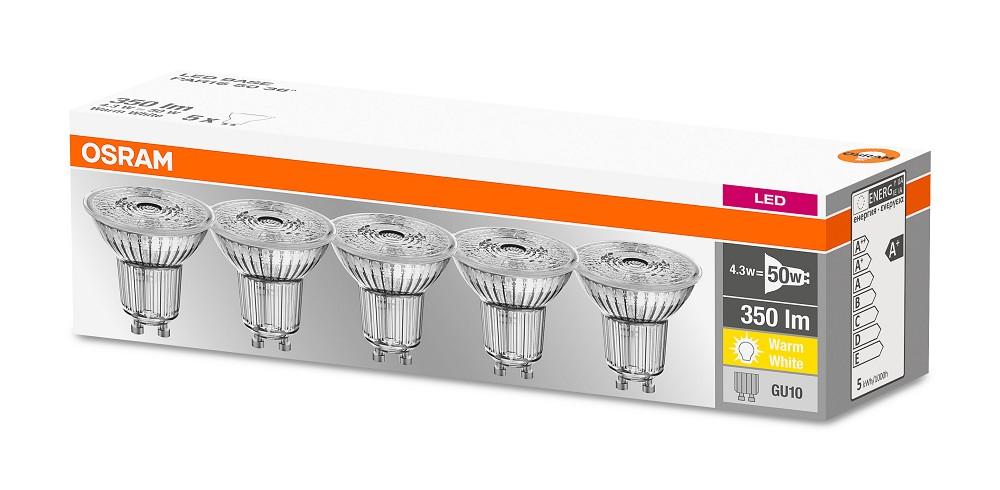 10er-PACK OSRAM LED BASE PAR16 GU10 LED Strahler 4.7W=50W 36° 2700K