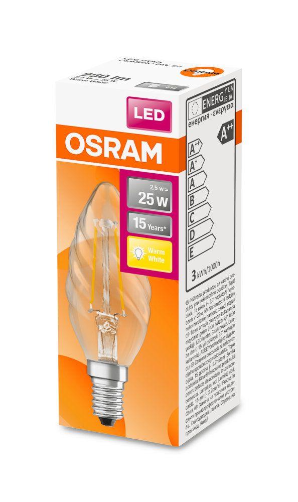 OSRAM LED Retrofit Classic BW 25 CL 2.8W 2700K E14 Kerze FS