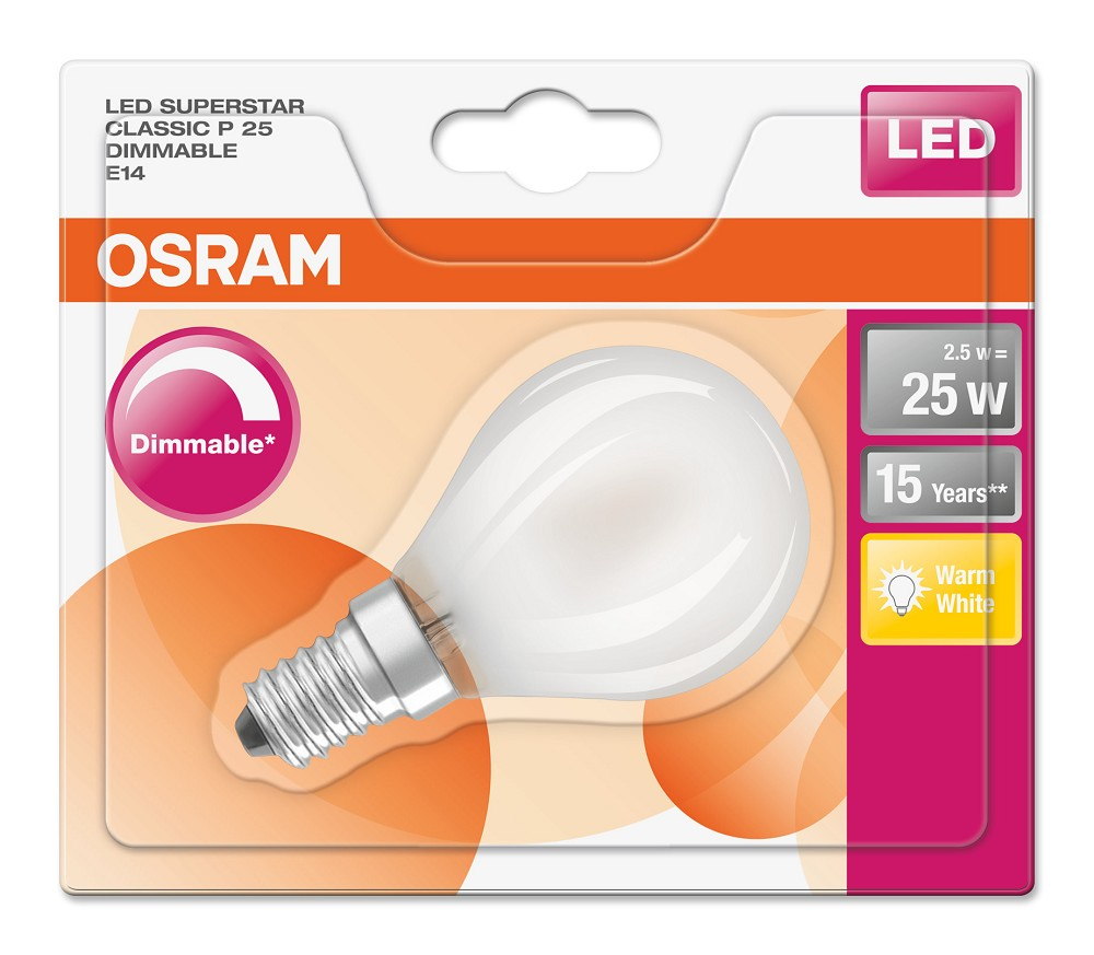 osram led superstar p25 e14 tropfenlampe matt 2 5w 2700k. Black Bedroom Furniture Sets. Home Design Ideas