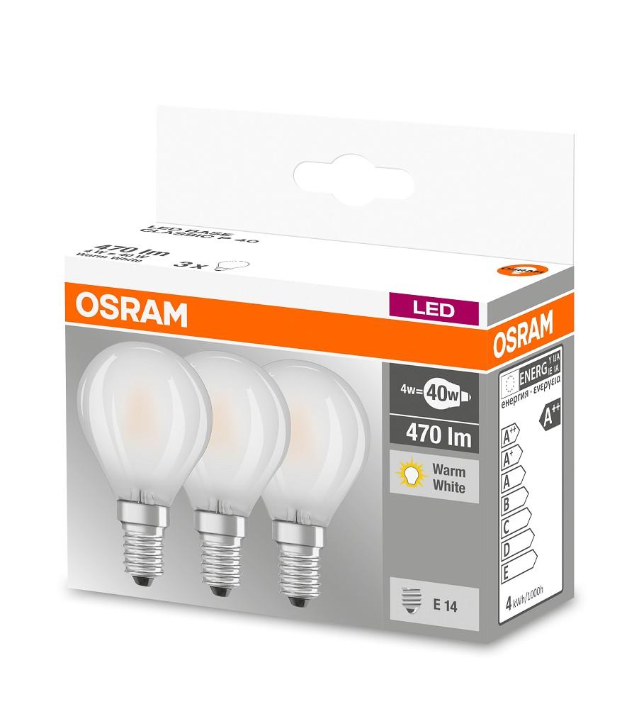 470 lumen osram led base p40 e14 classic 4w 2700k wie 40w. Black Bedroom Furniture Sets. Home Design Ideas