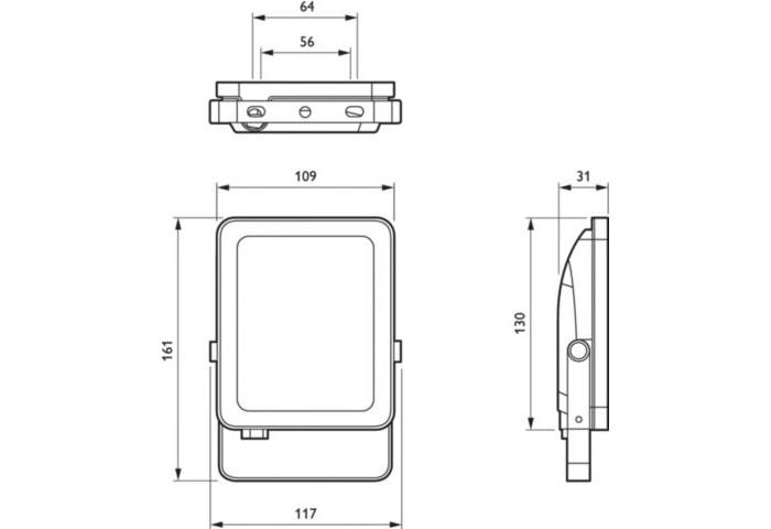 Philips LED-Scheinwerfer BVP154 Ledinaire 20W SENSOR 3000K IP65 schwarz