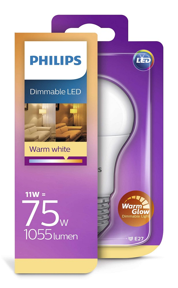 1055 lumen philips led a75 warmglow e27 lampe 11w 2200 2700k wie 75w. Black Bedroom Furniture Sets. Home Design Ideas