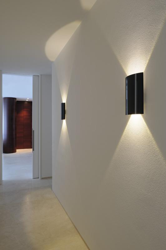 slv 151610 led sail 2 wandleuchte halbrund schwarz 2x3w led 3000k. Black Bedroom Furniture Sets. Home Design Ideas