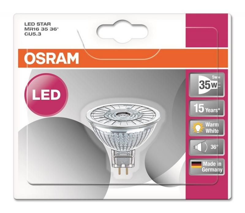 osram led star mr16 35 36 gu5 3 strahler warmwei 2700k wie 35w. Black Bedroom Furniture Sets. Home Design Ideas