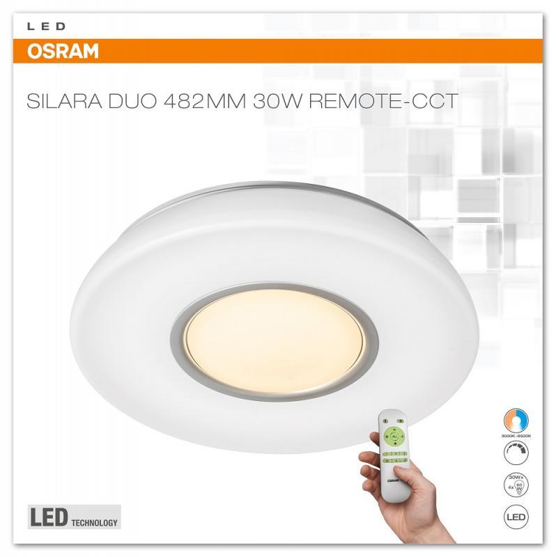 osram silara duo 482mm 30w remote cct led deckenleuchte 3000k 6000k. Black Bedroom Furniture Sets. Home Design Ideas