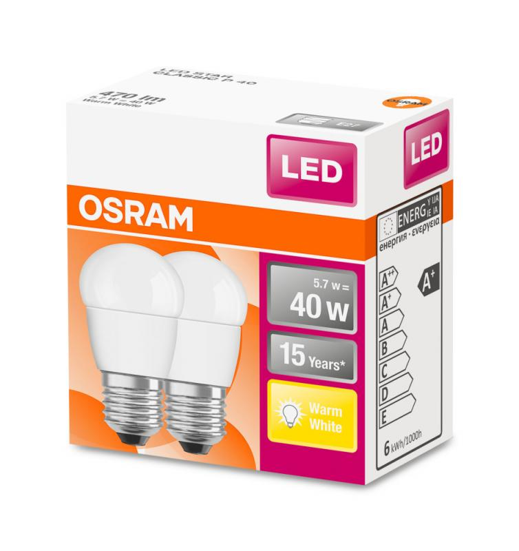 OSRAM LED STAR P40 6W 470 Lumen LED E27 MATT 2700K A+ Doppelpack