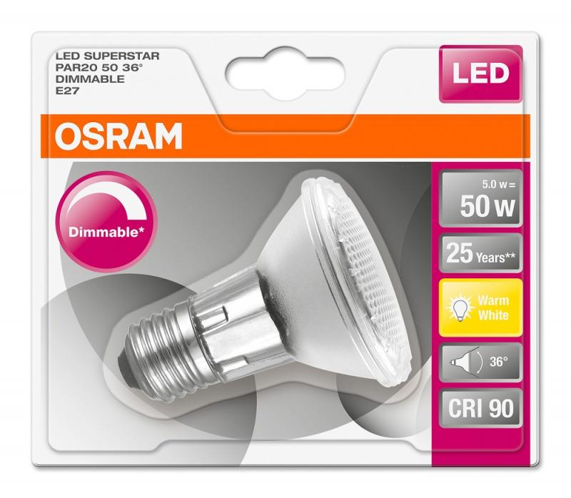 6x OSRAM Superstar PAR20 50 36° 5W 2700K warmweiß  E27 dimmbar LED Spot