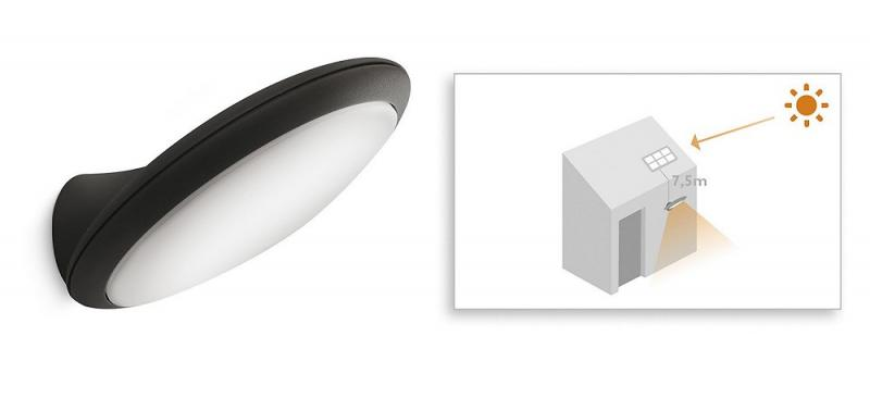 philips mygarden raven 178229316 solar led wand aussenleuchte anthrazit. Black Bedroom Furniture Sets. Home Design Ideas