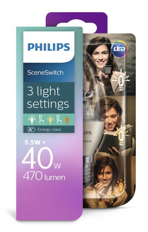 470 lumen philips led sceneswitch b38 e14 kerze 2200 2700k wie 40w. Black Bedroom Furniture Sets. Home Design Ideas